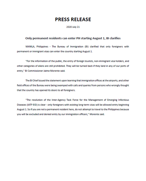 Press Release from Bureau of Immigration, 21 July 2020