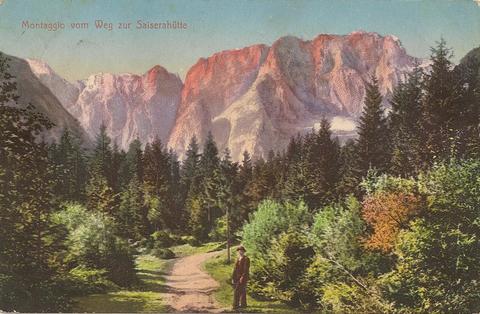 Montaggio vom Weg zur Seiserahütte1913