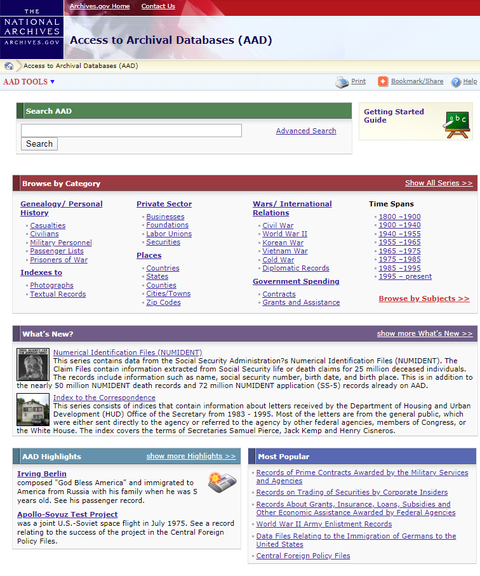 La tipica pagina di ricerca del NARA