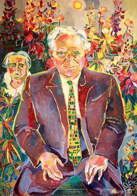 Bettina Heinen-Ayech (1937-2020): Doppelportrait von Hanns Heinen und seiner Gattin Erna Heinen-Steinhoff im Künstlergarten der Künstlerkolonie in Solingen, gemalt 1958