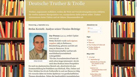 """Steckbrief auf der Seite """"Deutsche Truther & Trolle"""""""