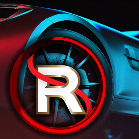 Rimsavers graphic image of car with logo over wheel, created by Dedign By Pie, Graphic designer