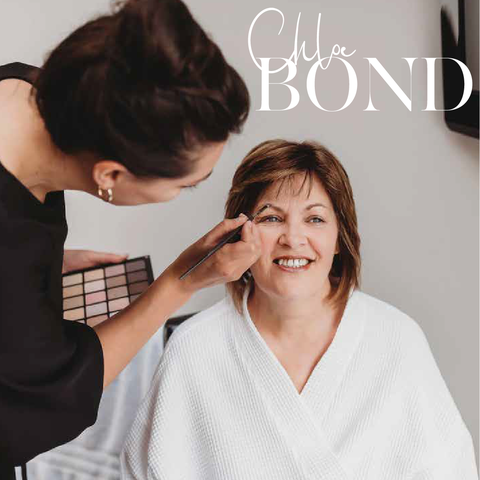 Image of Chloe Bond make-up artist with client and new logo design by Design By Pie, North Devon