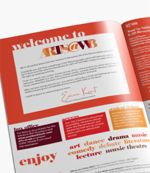 Inside front cover of the ARTS@WB A5 brochure, created for West Buckland School, By Design By Pie, Freelance Graphic designer, North Devon