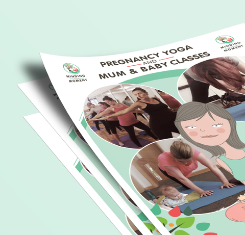 Close-up of poster design with illustrations and photographs of mum and baby yoga