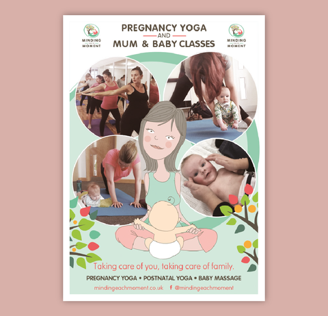 Advert design with photographs of mums doing yoga anf massage with babies
