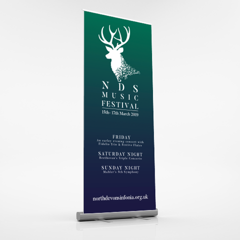 North Devon Sinfonia Pull Up Banner Full View, North Devon Graphic Designer