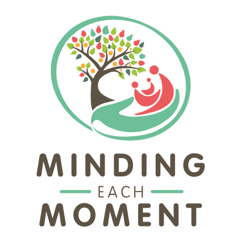 Minding Each Moment final logo design with tree, hand and simple mother and baby icons, designed by Design By Pie, Logo designer North Devon