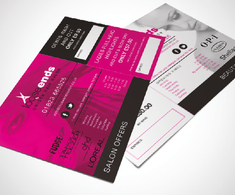 A5 double sided leaflet in pink black and white designed for Somerset based salon