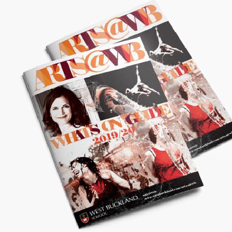 Two arts@WB brochures designed by Design by Pie, Graphic Designer, North Devon