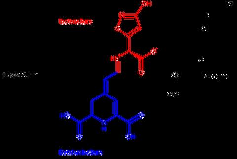 Umsetzung des Musca-Aurin I zu Muscimol. (Klick ins Bild führt zu einer vergrößerten Darstellung.)
