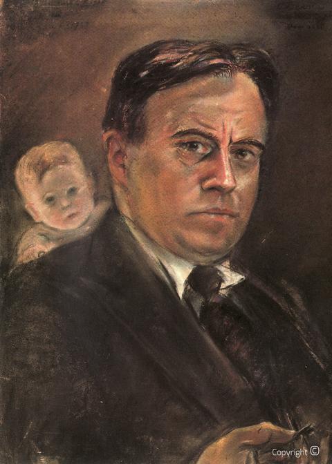Erwin Bowien ( 1899-1972): Werkverzeichnis N° 1083 - Selbstbildnis mit Kinderkopf im Hintergrund, ca. 1935