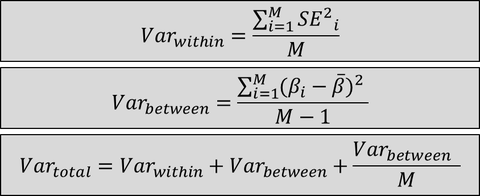 Pooling formula's: Var is variance; SE is standard error; M is the number of imputed datasets; Beta is the parameter estimate.