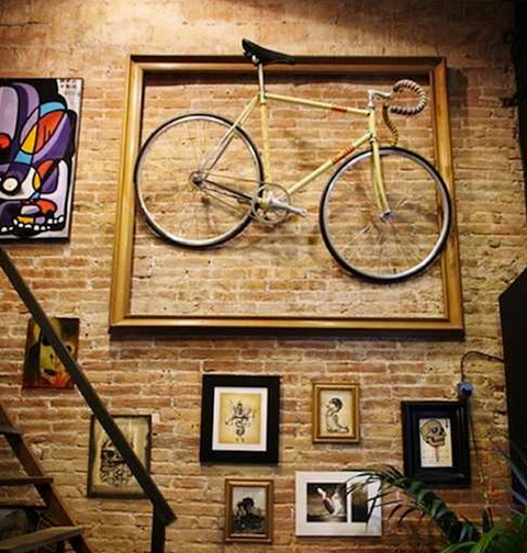 A bike literally framed on the wall.