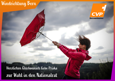 CVP Beromünster, Beromünster, CVP, Priska Wismer-Felder, Martin Schlegel, Wahlen, Gratulation, Sprung in den Nationalrat, Michelsamt, 5-sterne-region.ch, TEAM ORANGE