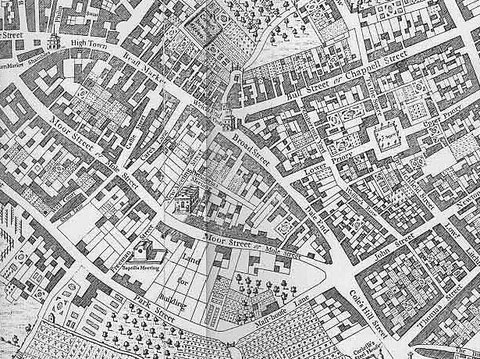 Dale End, shown on Westley's 1731 map. Note: the map is oriented with west at the top. Image downloaded from Wikipedia. See Acknowledgements.