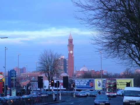 Taken at dusk at the Sainsbury's junction on the Bristol Road looking towards the University. Image by Pete Ashton reusable under Creative Commons Licence Attribution-Noncommercial 2.0 Generic. See Acknowledgements for a link to the flickr website