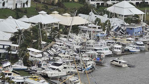Boats stranded on the coast at Hinchinbrook Harbour after TC Yasi.