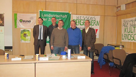von links: Oliver Conz (HGON), Michael Rothkegel (BUND), Hans-Jürgen Müller (VÖL), Reinhard Nagel (AbL), Jörg Weber (Bürger AG)