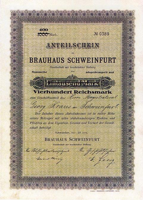 Anteilschein an der GmbH bei Gründung der Gesellschaft - rechts Unterschrift von W. Georg