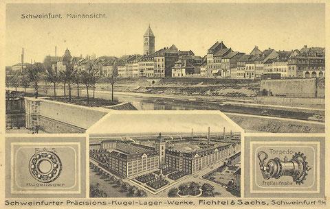 Die Firma Schweinfurter Präcisions-Kugellagerwerke Fichtel und Sachs im Jahr 1906 auf einer Postkarte
