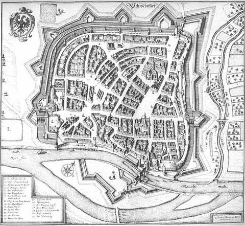 Schweinfurt aus der Vogelperspektive im Jahre 1648                          Kupferstich nach Johann Herrman