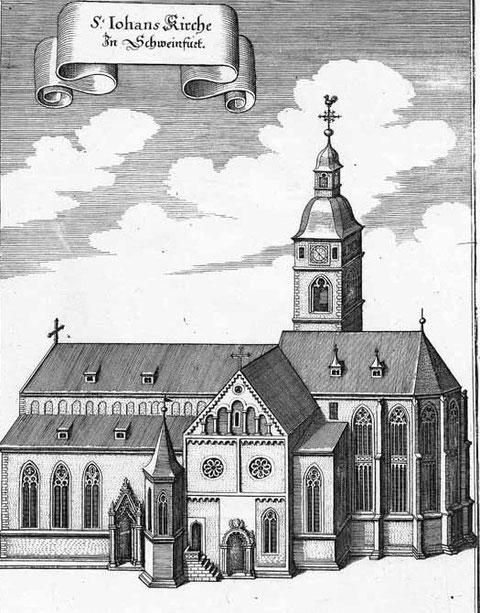 Ansicht der St. Johanniskirche von Süden 1646/48 von Matthäus Merian
