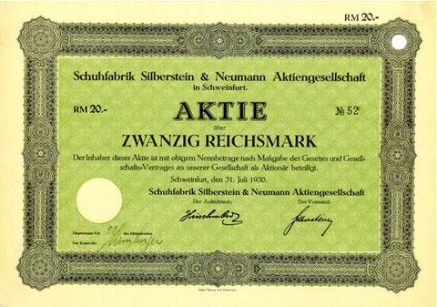 Aktie der Schuhfabrik Silberstein & Neumann AG vom 31. Juli 1930 zu 20 Reichsmark
