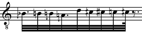 Excerpt of the microtonal transcription of a Flamenco chant.