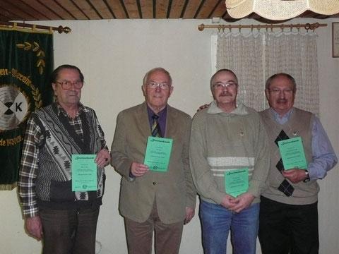 v.l.n.r.: Egon von Zech, Fritz Ochs, Volker Schade, Heinz-Herbert Fremder. Nicht auf dem Foto: Hermann Laubach, Udo Ubl, Joachim Zülch, Ernst Fremder, Carsten Kilian.