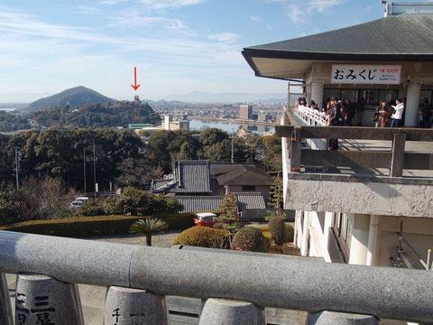 犬山成田山から西を見ると、犬山城もはっきりと(矢印)