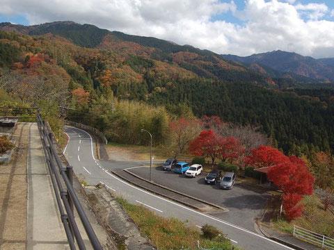 県道7で馬籠峠を越え、妻籠宿方面に向かって進む