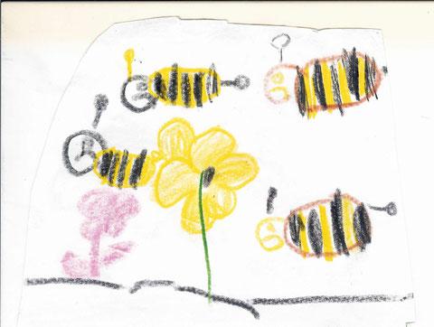 Bienen beim Nektar sammeln.