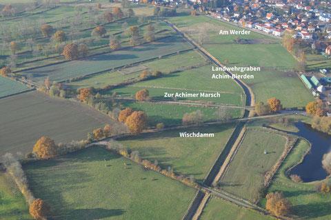 Luftaufnahme Streuobstwiese Achimer Marsch