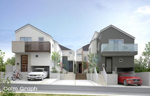 戸建て 住宅 4棟パース