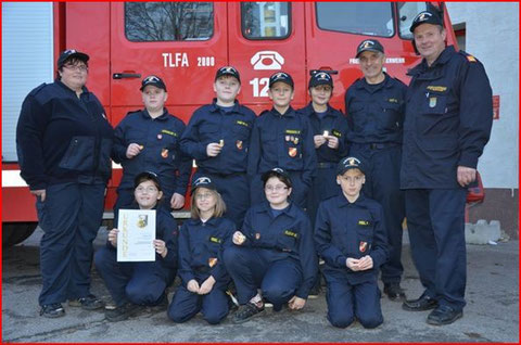 Mitglieder der Feuerwehrjugend Großkrut und Althöflein