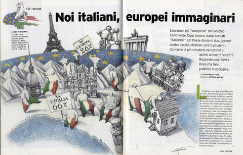 ITALIANI EUROSCETTICI? di A.Molino. Matite su carta. Da GEO, 2006.