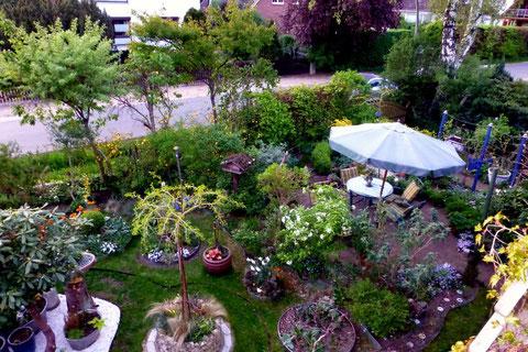 Mediterraner Garten von oben
