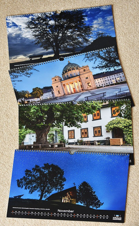 Vier der Kalenderblätter, die von uns gestaltet wurden.