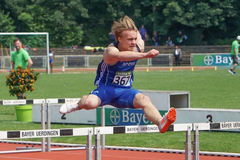 Gerrit Vißer startet in Bochum-Wattenscheid über die 80m Hürden und im Hammerwurf der U16. (Fotot: Roman Buhl)