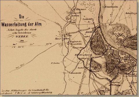 Historische Karte: An der engsten Stelle führt der Stiftsarm durch den Festungsberg und Mönchsberg.