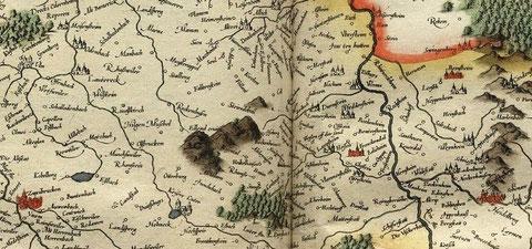 """Die Kurpfalz, auch Heimat von Ochsenreiter / Ochsenreuter - Familien. Detail aus """"Palatinatus Rheni"""" zu Beginn des 30-jährigen Krieges (Wikimedia/Mercator)"""