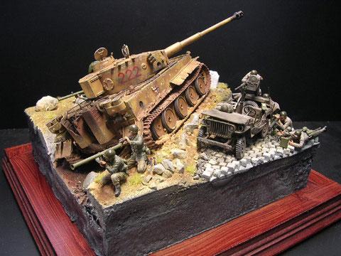 Tiger E auf Sizilien - www.panzer-bau.de/diorama/militär/1:35