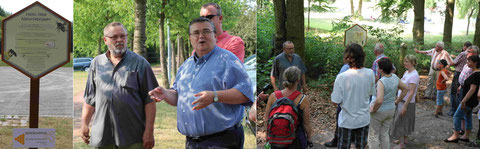 Vereinsvorsitzender Uwe Przybilla und Bürgermeister Matthias Mann eröffnen den Bienenlehrpfad