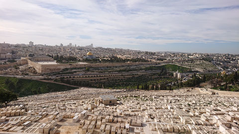 The ancient cemetery and view of the Temple Mount in Jerusalem