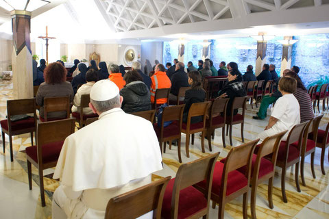 Pope Francis at prayer before celebrating Mass with staff at St Martha Domus, Vatican