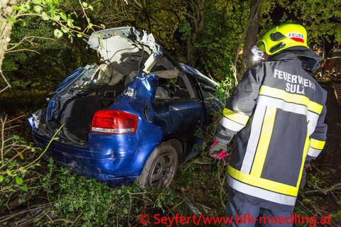 Feuerwehr, Blaulicht, BFKDO Mödling, Schwerer Verkehrsunfall, PKW, Sulz im Wienerwald, L127