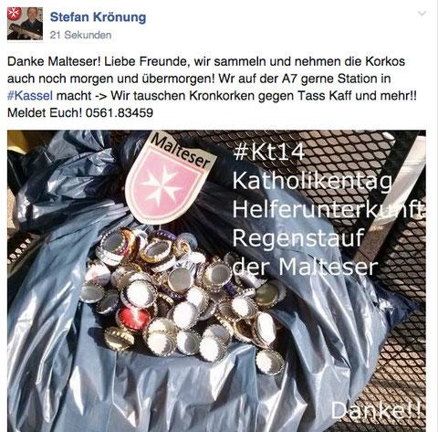 Malteseraktion am #KT14 - Kronkorken für die Sozialkirche! Danke!!