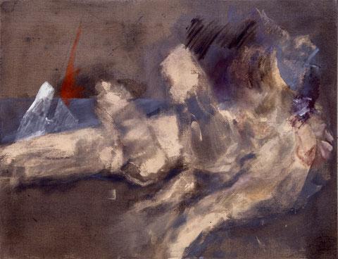 Tendre dévastation, 1992, jeu d'enduit, colle de peau et technique mixte sur toile, 89 X 116 cm, Collection particulière, Paris