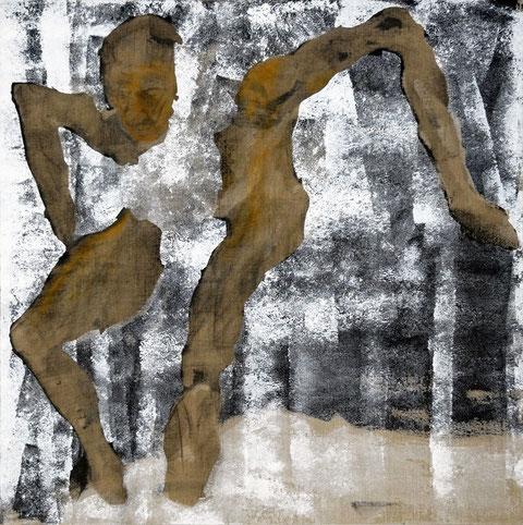 Etude pour un danseur, Variation 2 (d'après un petit dessin fait pendant un spectacle du chorégraphe Paco Dècina), 2007, fusain broyé, colle de peau, enduit acrylique et huile sur toile, 100 x 100 cm.
